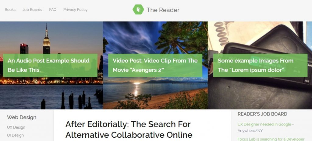 The Reader WordPress Minimal Blog Theme