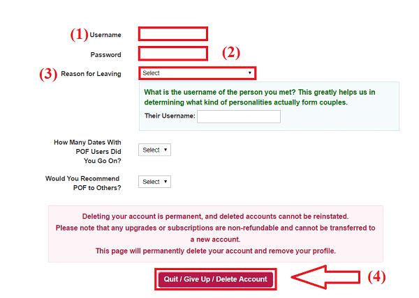 Terminate POF Account Permanently